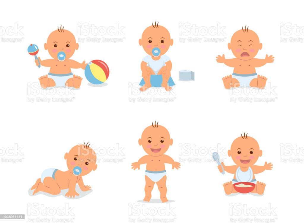 Cartoon set with cute little babies in diaper. Happy toddler plays with toy, child learning to walk, baby crying, child sits on potty, toddler crawling on the floor. Vector illustration in flat style. vector art illustration