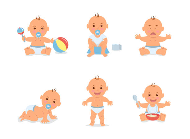 Bекторная иллюстрация Cartoon set with cute little babies in diaper. Happy toddler plays with toy, child learning to walk, baby crying, child sits on potty, toddler crawling on the floor. Vector illustration in flat style.
