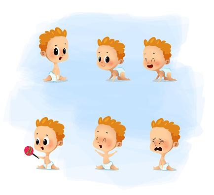 Cartoon set with cute little babies in diaper.