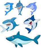 Vector illustration of Cartoon shark collection set