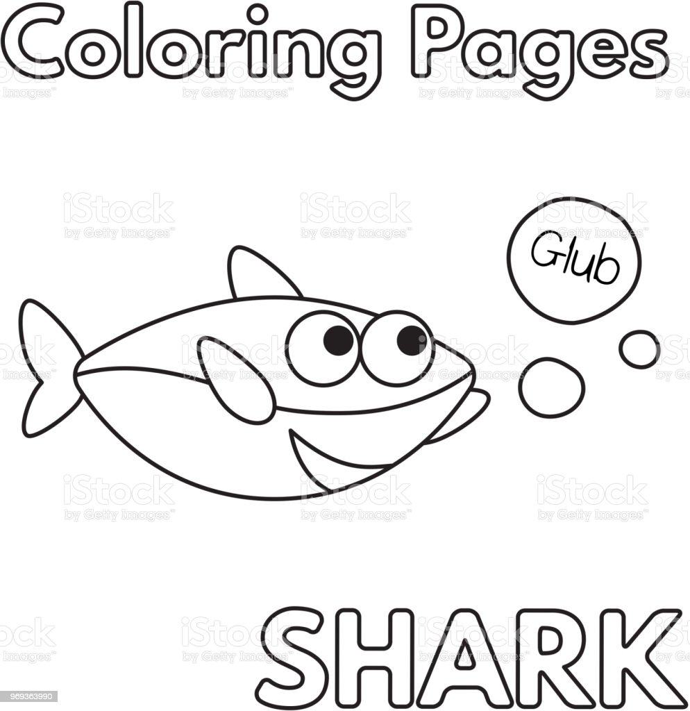 - Cartoon Shark Coloring Book Stock Illustration - Download Image