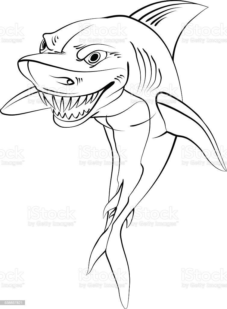 dessin animé de requin style noir et blanc vecteurs libres