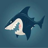 Cartoon shark side view