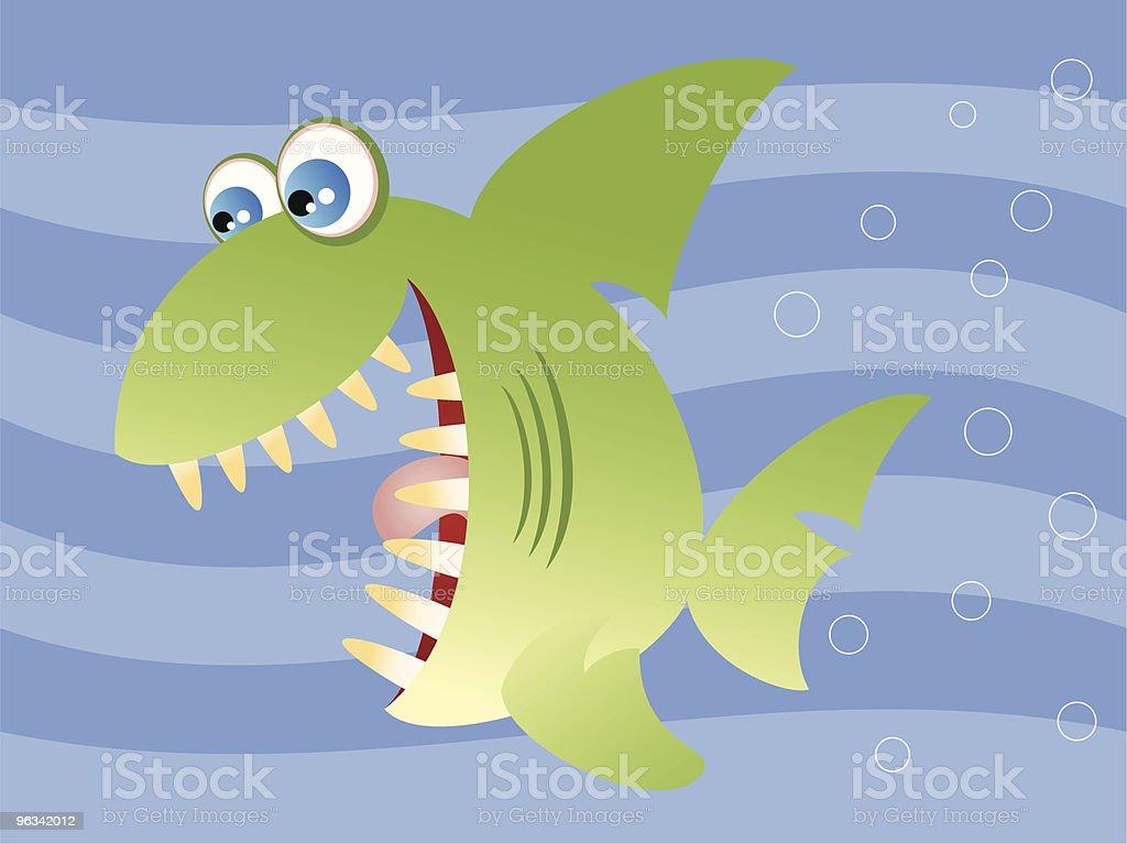 Dessin animé de requin - clipart vectoriel de Au fond de l'océan libre de droits