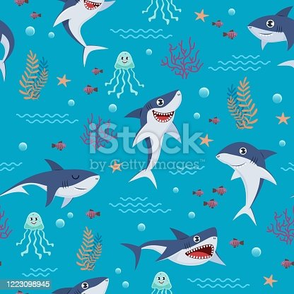 istock Cartoon sharks pattern. Seamless background with cute marine fishes, smiling shark characters and sea underwater world vector wallpaper 1223098945
