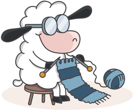 cartoon sheep knitting a scarf