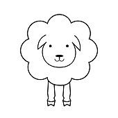 Cartoon sheep. Line outline icon. Wool textile sign, black and white. Fabric icon