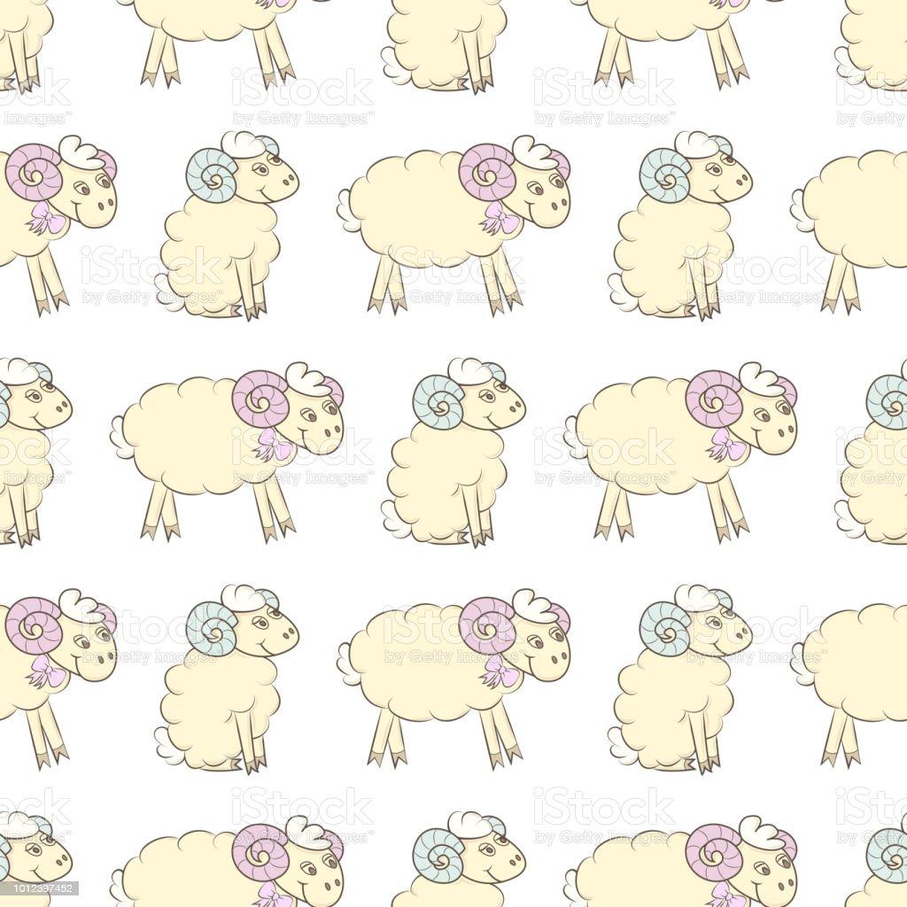 Cartoon Sheep Seamless Wallpaper Royalty Free Stock Vector Art Amp
