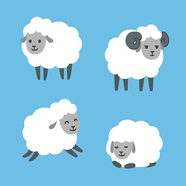 stockillustraties, clipart, cartoons en iconen met cartoon sheep set - wollig