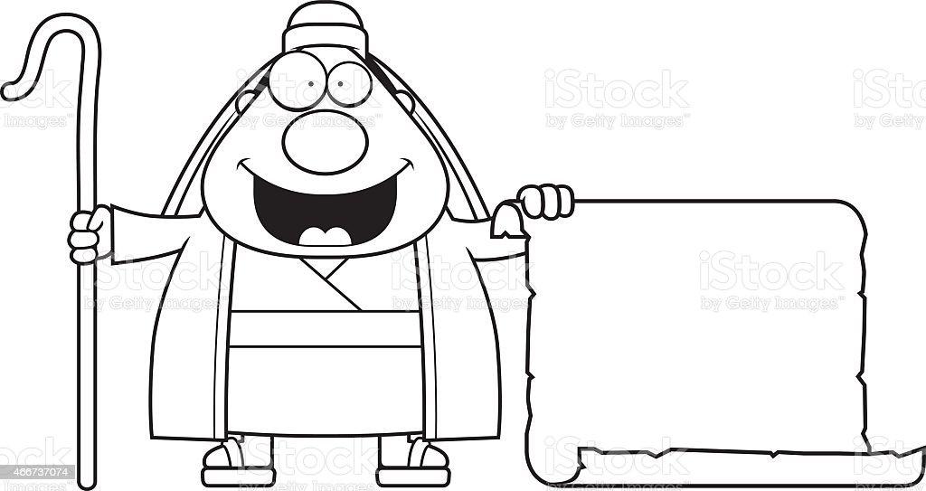 Cartoon Shepherd Sign vector art illustration
