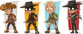Cartoon sheriff cowboy with pistol character vector set