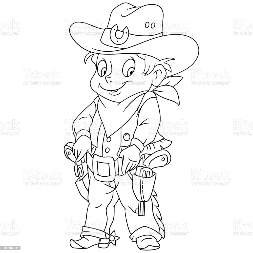 Cartoonsheriff Oder Amerikanische Cowboy Stock Vektor Art Und Mehr Bilder Von Ausmalen
