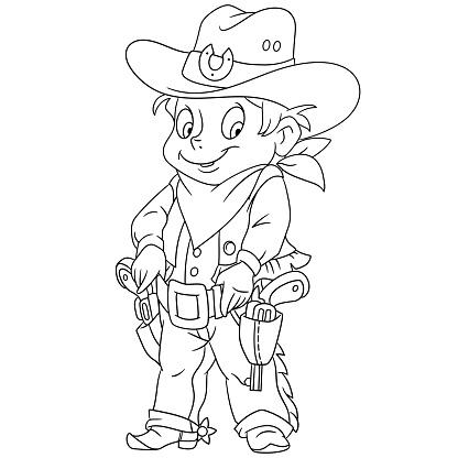 Cartoon sheriff or american cowboy