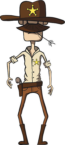 cartoon sheriff with revolver. wild west. vector illustration - old man hats pictures stock illustrations, clip art, cartoons, & icons
