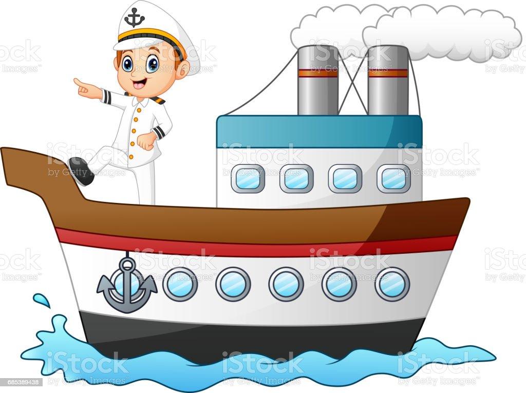 Cartoon Ship Captain Pointing On A Ship Stock Illustration