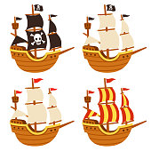 Cartoon tall ship illustration set. Pirate ship with Jolly Roger flag and black sails, and traditional sailboats. Isolated vector drawing.