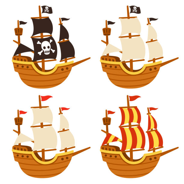 bildbanksillustrationer, clip art samt tecknat material och ikoner med cartoon fartyg set - ship