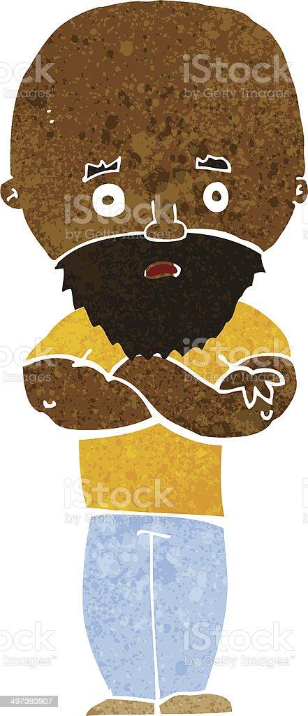 Scioccato calvo fumetto di uomo con barba immagini vettoriali
