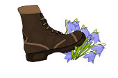 Cartoon shoes ruthlessly tramples the flower isolated on white background.