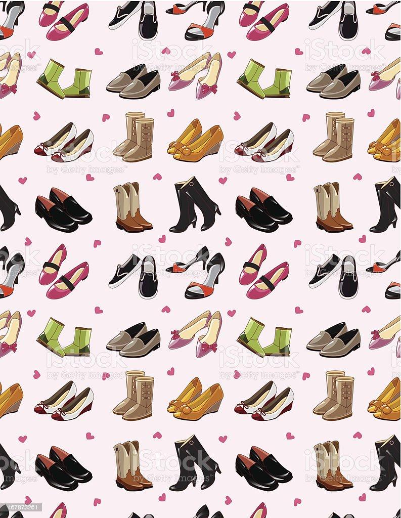 Ilustración de Zapatos De Patrón Sin Costuras De Dibujos Animados y ...