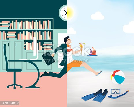 istock Cartoon showing a business man going from office to beach 473194812