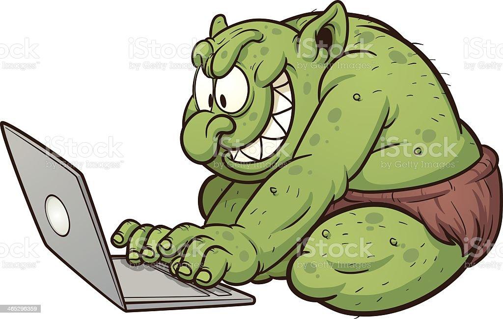 A Cartoon Showing An Internet Troll Stock Vector Art ...
