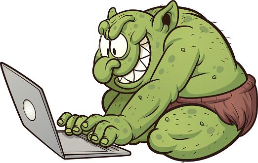 A cartoon showing an internet troll