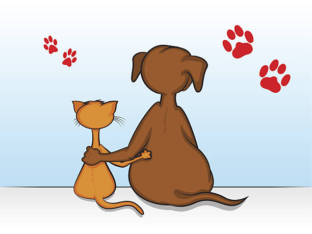 Cartoon showing dog and cat with arms around each other vector art illustration