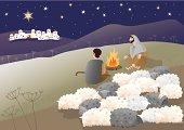 Shepherds are looking what has happened in Bethlehem.