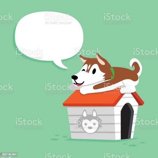 Cartoon siberian husky dog and kennel with speech bubble vector id832192464?b=1&k=6&m=832192464&s=612x612&h=lmneq6gbrx0rbj5a ngdmsbklsxsahwvdbolwqbbg4s=