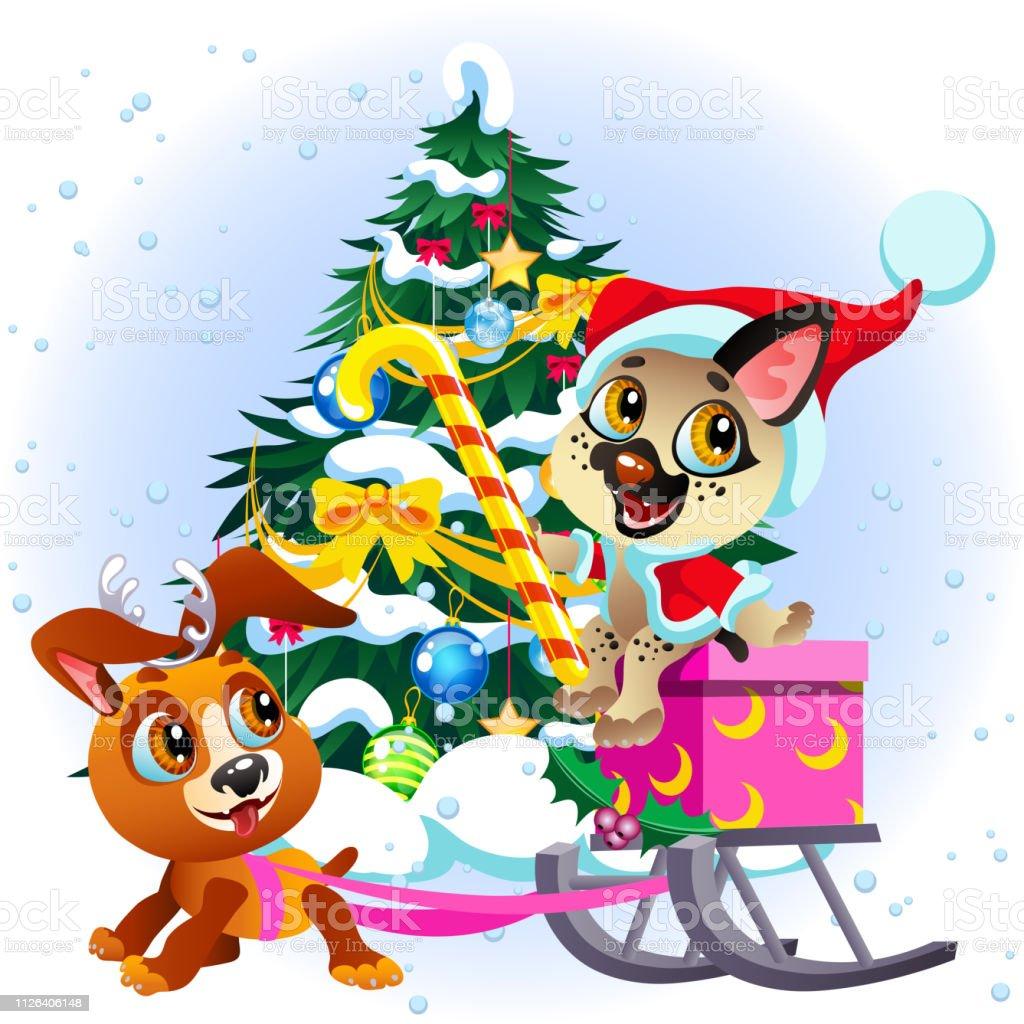 Wir Wünschen Dir Frohe Weihnachten.Cartoonzeichen Wir Wünschen Ihnen Frohe Weihnachten Und Glückliches
