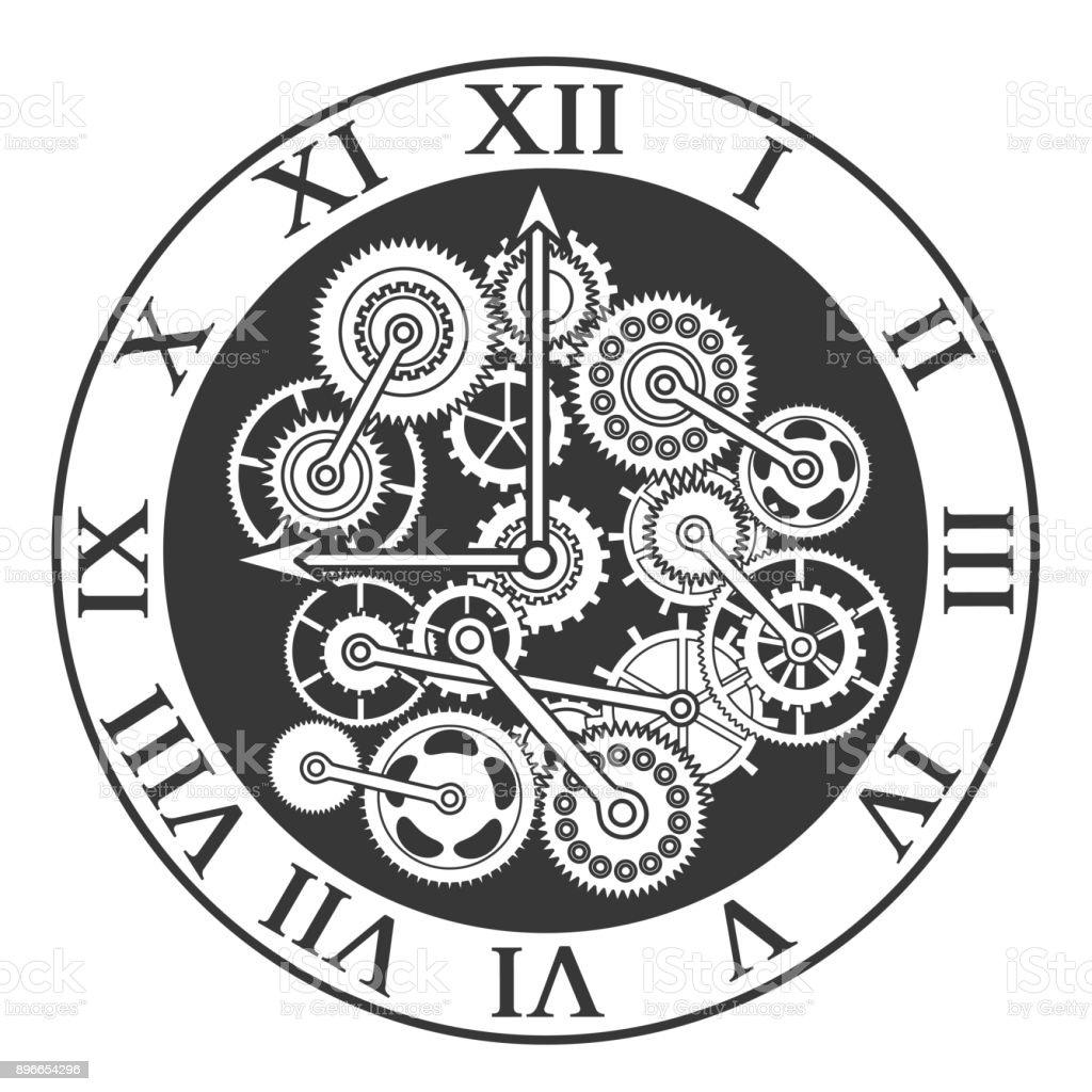 Ilustracion De Mecanismo De Reloj Negro De Silueta De Dibujos