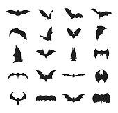 Cartoon Silhouette Black Different Bats Icon Set. Vector