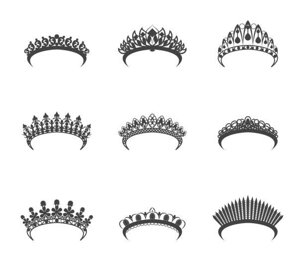illustrations, cliparts, dessins animés et icônes de dessin animé silhouette noire tiara ensemble. vector - diademe
