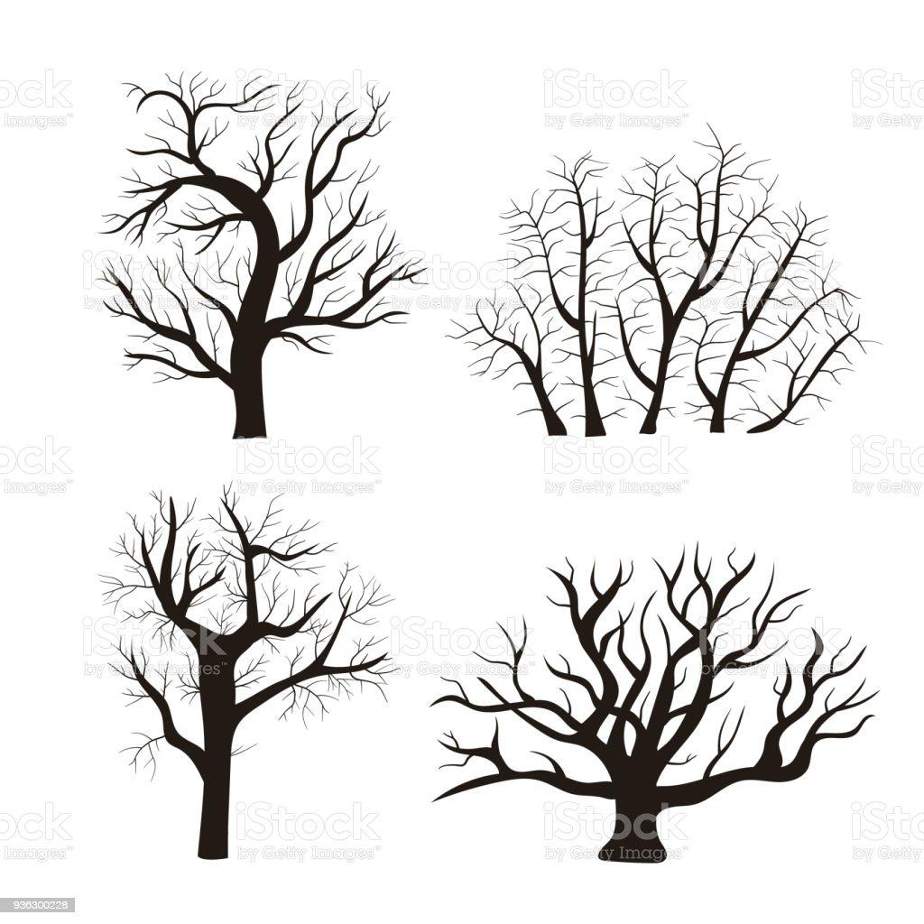Conjunto de iconos de dibujos animados silueta árbol negro. Vector de - ilustración de arte vectorial