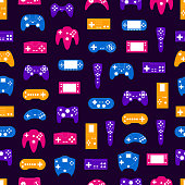 Cartoon Silhouette Gamepad Seamless Pattern Background Concept Element Flat Design Style. Vector illustration of Joystick Game