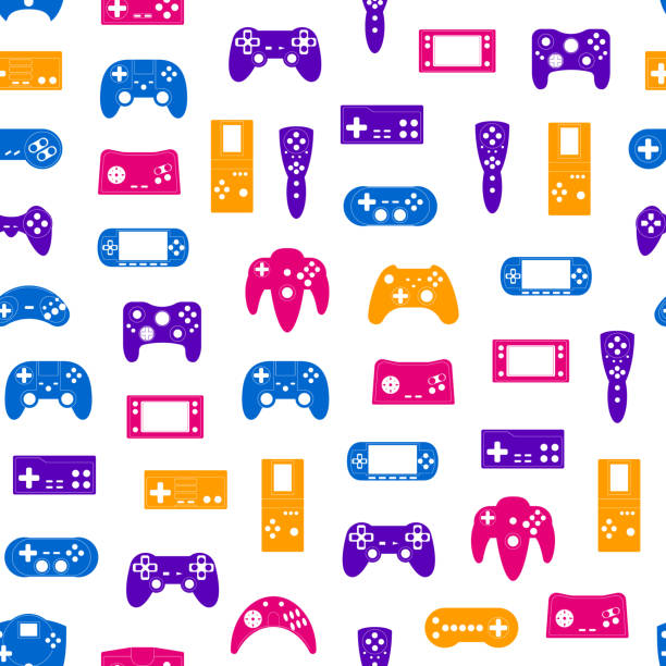 Cartoon Silhouette Gamepad Seamless Pattern Background. Vector Cartoon Silhouette Gamepad Seamless Pattern Background on a White Concept Element Flat Design Style. Vector illustration of Joystick Game game controller stock illustrations