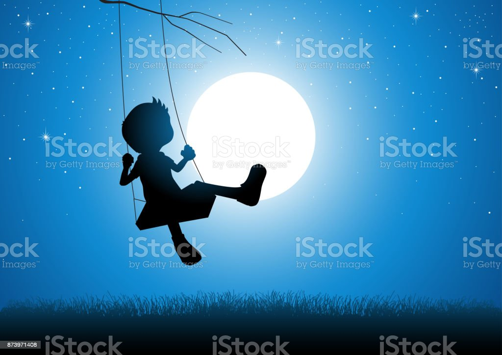 Cartoon silhouette of a boy playing on a swing Cartoon silhouette of a boy playing on a swing during full moon Agricultural Field stock vector