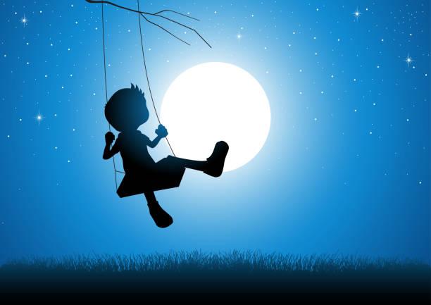 cartoon-silhouette eines jungen spielen auf einer schaukel - kind schaukel stock-grafiken, -clipart, -cartoons und -symbole