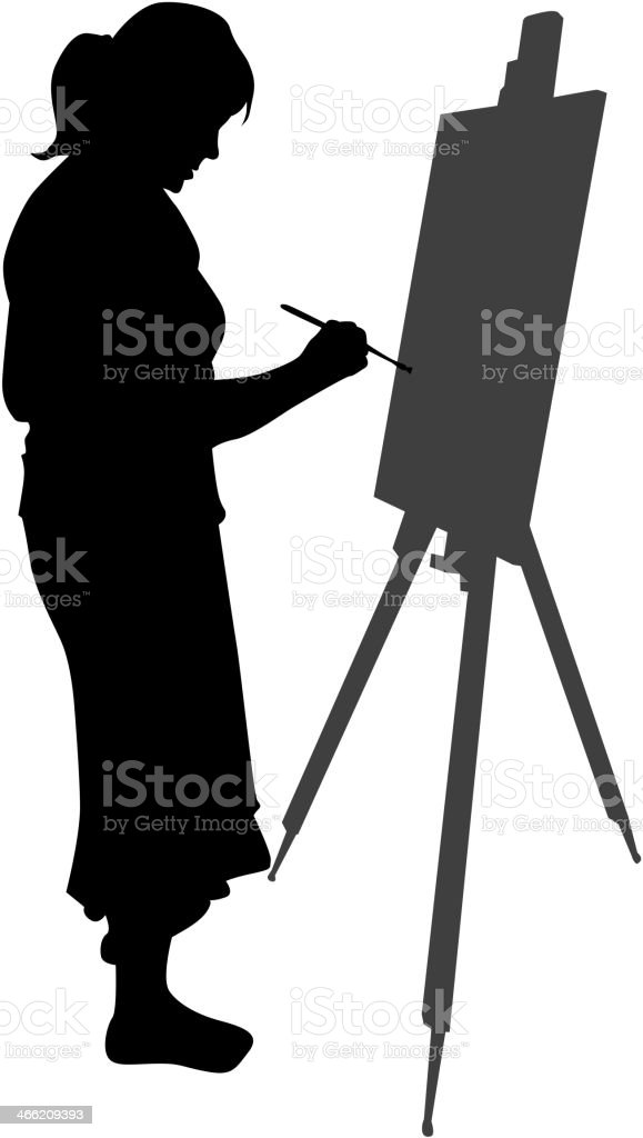 Cartoon Silhouette Of An Artist In Front Of An Easel Stock Vector
