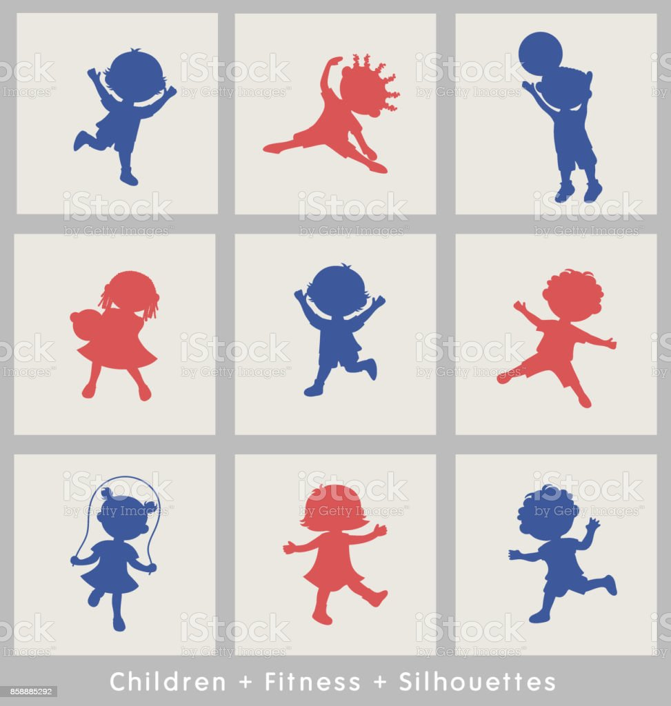 Dibujos animados de siluetas de niños activos. Diseño de elementos de materiales de motivación para la aptitud de los niños. - ilustración de arte vectorial