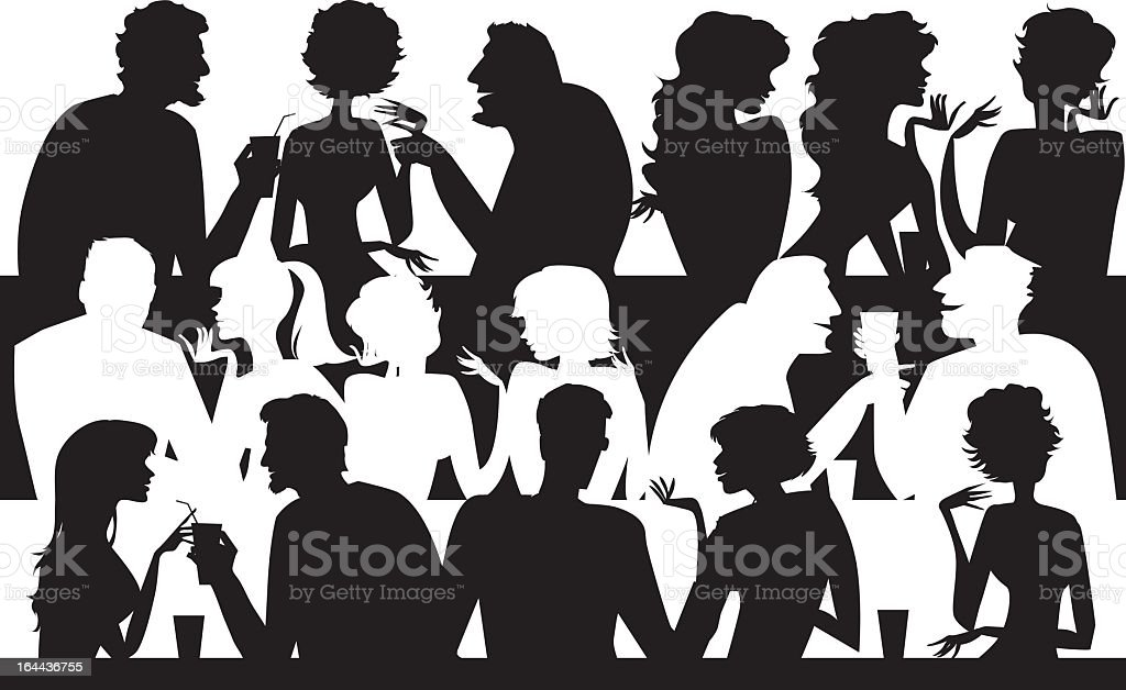 Cartoon silhouettes of people at a cafe vector art illustration