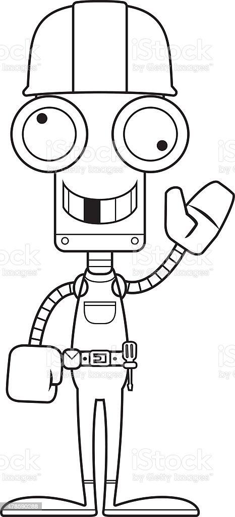 Cartoon Lustig Bauarbeiter Roboter Stock Vektor Art Und Mehr Bilder
