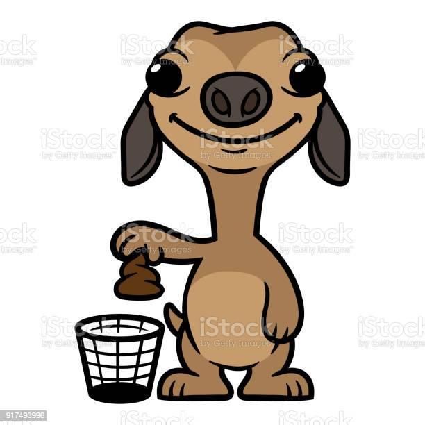 Cartoon silly dog putting poop in trash illustration vector id917493996?b=1&k=6&m=917493996&s=612x612&h=d9bw1jmci3lx y7yae4j0x19wrbi5plbto odr4vdoc=