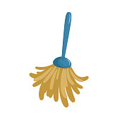 Cartoon simple feather duster icon. Spring cleaning  duster brush icon isolated on white background. Vector illustration.