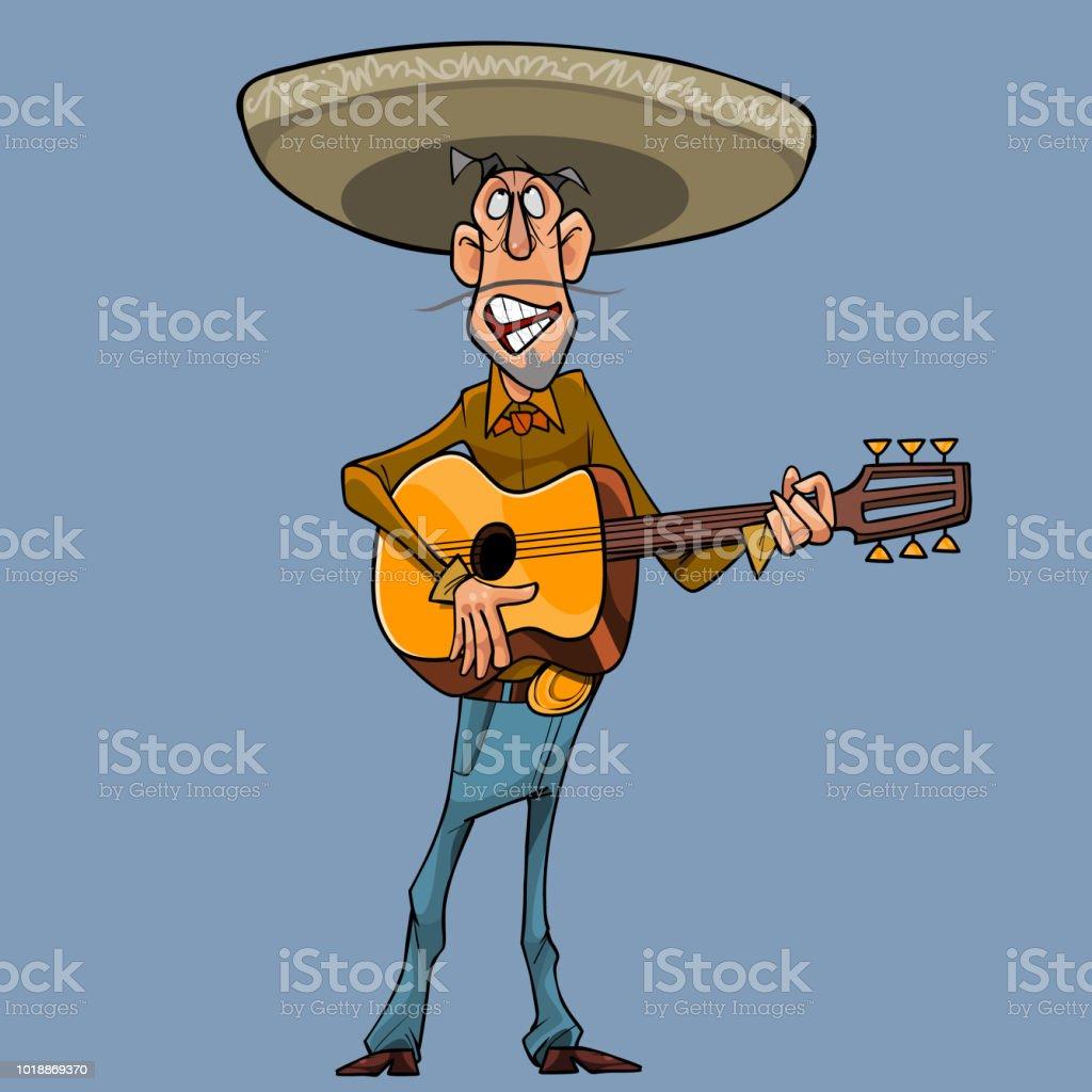 cartoon singer in a sombrero plays the guitar vector art illustration