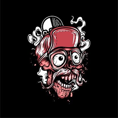 Cartoon Skateboard Skull Head T-Shirt Illustration