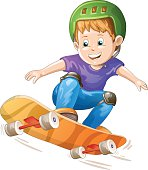 Cartoon skater boy flying through the air.File saved in EPS 10 format and contains blend and transparency effect