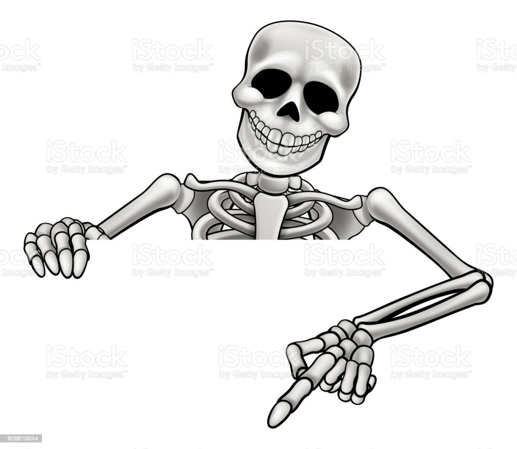 Cartoon Skeleton Pointing Sign Stock Vector Art More Images Of