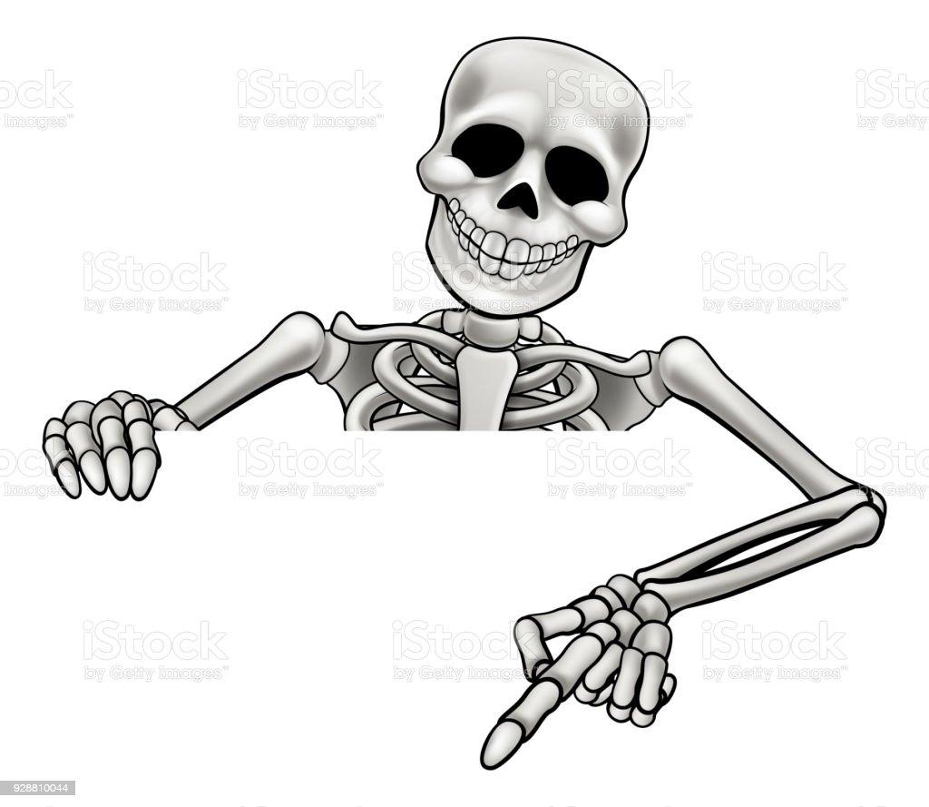 Cartoon Skeleton Pointing Sign vector art illustration